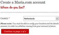 account aanmaken bij maria